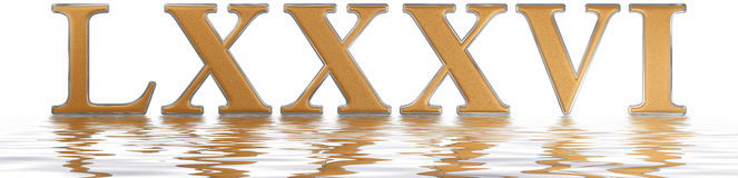 Roman numeral LXXXVI, sex et octoginta, 86, eighty six, reflecte. D on the water surface, isolated on white, 3d render Stock Illustration