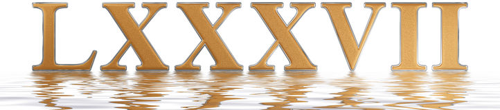 Roman numeral LXXXVII, septem et octoginta, 87, eighty seven, re. Flected on the water surface, isolated on white, 3d render royalty free illustration
