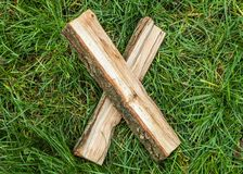 Roman numeral. Roman numerals made from oak. Old wood numbers. Old roman antique alphabet number on green grass background. Number. Ten. X stock photography