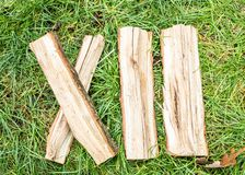 Roman numeral. Roman numerals made from oak. Old wood numbers. Old roman antique alphabet number on green grass background. Number. Twelve stock image