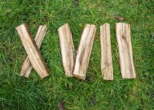 Roman numeral. Roman numerals made from oak. Old wood numbers. Old roman antique alphabet number on green grass background. Number. Seventeen stock images