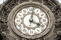 Roman Numeral Round Analog Clock at 4:02 Royalty Free Stock Image