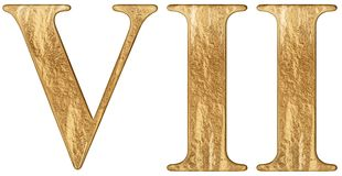 Roman numeral VII, septem, 7, seven, isolated on white background, 3d render.  royalty free illustration