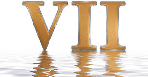 Roman numeral VII, septem, 7, seven, reflected on the water surf. Ace, isolated on white, 3d render stock illustration