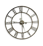 Roman Numeral Wall Clock. A Roman numeral metal wall clock. Clipping path included royalty free stock photos