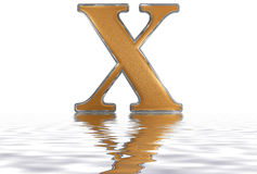 Roman numeral X, decem, 10, ten, reflected on the water surface, Stock Images