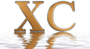 Roman numeral XC, nonaginta, 90, ninety, reflected on the water. Surface, isolated on white, 3d render vector illustration