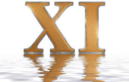 Roman numeral XI, undecim, 11, eleven, reflected on the water su. Rface, isolated on  white, 3d render Royalty Free Stock Photo