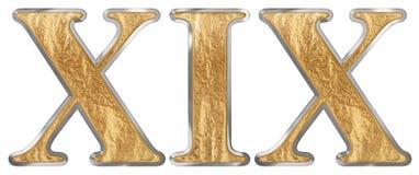Roman numeral XIX, undeviginti, 19, nineteen, isolated on white background, 3d render vector illustration