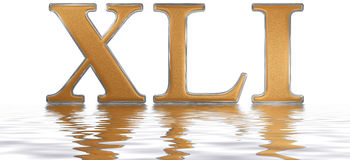 Roman numeral XLI, unus et quadraginta, 41, forty one, reflected Royalty Free Stock Image