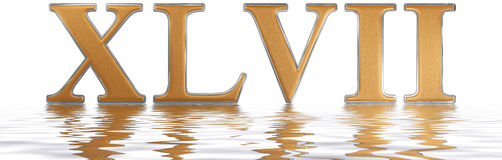 Roman numeral XLVII, septem et quadraginta, 47, forty seven, ref. Lected on the water surface, isolated on  white, 3d render Royalty Free Stock Photos