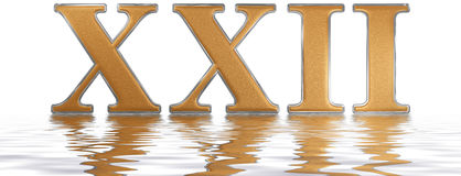 Roman numeral XXII, duo et viginti, 22, twenty two, reflected on. The water surface, isolated on  white, 3d render Royalty Free Stock Image