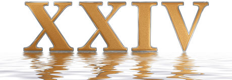 Roman numeral XXIV, quattuor et viginti, 24, twenty four, reflec. Ted on the water surface, isolated on  white, 3d render Stock Images