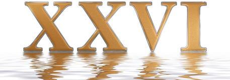 Roman numeral XXVI, sex et viginti, 26, twenty six, reflected on Stock Photo