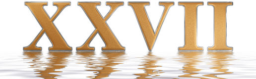 Roman numeral XXVII, septem et viginti, 27, twenty seven, reflec. Ted on the water surface, isolated on  white, 3d render Royalty Free Stock Image