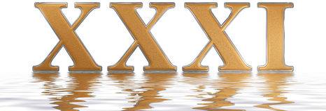 Roman numeral XXXI, unus et triginta, 31, thirty one, reflected. On the water surface, isolated on  white, 3d render Royalty Free Stock Image