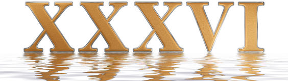 Roman numeral XXXVI, sex et triginta, 36, thirty six, reflected. On the water surface, isolated on  white, 3d render Royalty Free Stock Photos