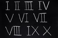 Roman numerals. Roman numerals 1 to 10 written on a blackboard Stock Photo