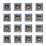 Roman numerals buttons - set of vector icons Royalty Free Stock Photo