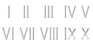 Roman numerals - cdr format. Roman numerals from one to ten made from roman columns Royalty Free Stock Photos
