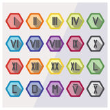 Roman numerals flat icon set. In different colors with examples date 23 and year 2016. Roman numbers from 1 to 12, 20, 40, 50, 100, 500, 1000, 5000 and 10k Stock Images