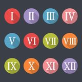 Roman numerals icon set. Numeric system originated from ancient Rome, chart from 1 to 12. Vector flat style cartoon illustration isolated on black background Stock Image