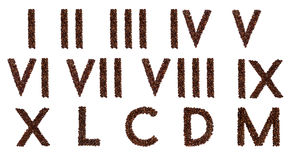 Roman numerals out of coffee. Roman numerals made out of coffee beans royalty free stock photos