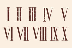 Roman numerals set. Roman numerals set with the effect of aging Stock Image