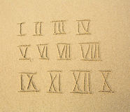Roman numerals written on a sandy beach. Education. Stock Photography