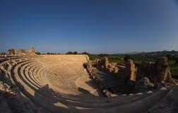 Roman Odeon i forntida Nikopolis Preveza Grekland fotografering för bildbyråer