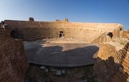 Roman Odeon i forntida Nikopolis Preveza Grekland royaltyfri bild
