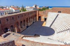Roman Odeon i Patras, Peloponnese, Grekland royaltyfria foton