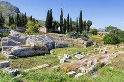 Roman Odeum av forntida Corinth, Peloponnese, Grekland Royaltyfria Bilder