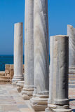 Roman old marbe column row in caesarea Archaeological site close. To Herod the Great hippodrome Stock Photography