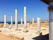 Roman old marbe column square in caesarea Archaeological site cl. Ose to Herod the Great hippodrome Stock Images