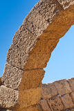 Roman old stone arc in caesarea Archaeological site close to Her. Od the Great hippodrome Stock Photos