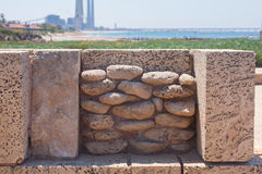 Roman old stone wall decoration in caesarea Archaeological site Stock Photo