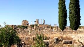 Roman oude ruïnes bij de archaelogical Unesco-Erfenisplaats van Volubilis stock footage