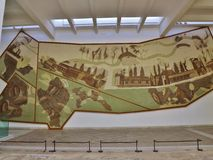 Roman painting in the Bardo museum, Tunis, Tunisia. Tunis, Tunisia - January  13, 2015: Inside the Bardo Museum. The Museum houses a rich collection of ancient Stock Photo