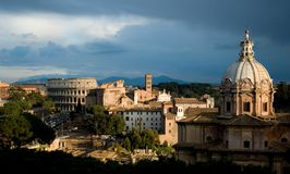 Roman panorama view. Panorama view over ruins of Colosseum in Rome - Italy Royalty Free Stock Image