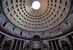 Roman Pantheon architectural interior detail. Detail of the dome and interior architecture of the Pantheon in Rome, Italy royalty free stock photography
