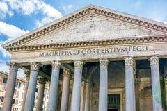 Roman Pantheon facade in Rome Stock Photos