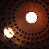 Roman Pantheon's dome and the opening at the top - vintage effect. Royalty Free Stock Image