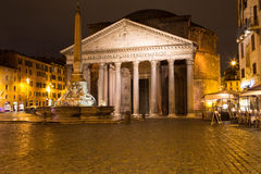 Roman Pantheon Square by night Stock Images