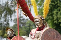 Roman parade riders. Closeup of two roman parade riders in ancient armor Stock Image