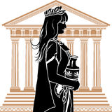 Roman patrician woman. With temple on background stencil royalty free illustration