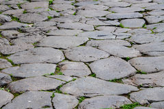 Roman paved stone street close up detail Royalty Free Stock Photo