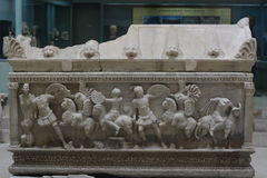 Roman period Cladius Severinus and Berenice sarcophagus A.D 2. Turkey, Kutahya city museum, Roman period  sarcophagus Royalty Free Stock Photography