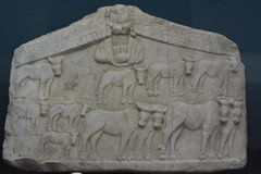 Roman period  relief marble. Turkey, Kutahya city museum,  relief marble Stock Photos