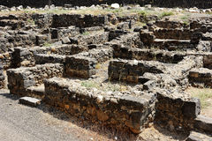 Roman-period town Capernaum. Wall, street and houses - ruins of the Roman-period town Capernaum royalty free stock photos